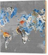 Blue Street Art World Map Wood Print