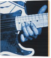 Blue String Bender Wood Print