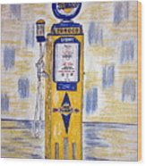 Blue Sunoco Gas Pump Wood Print