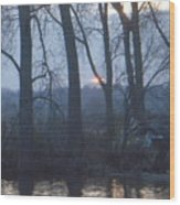 Blue Sunset On Fox River Wood Print
