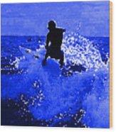 Blue Surf Wood Print