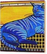 Blue Tabby - Cat Art By Dora Hathazi Mendes Wood Print