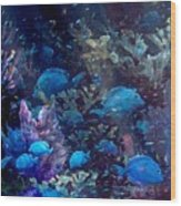 Blue Tang Sea Fan   Wood Print