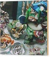 Blue Tang Swimming Above Wood Print