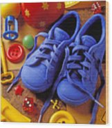 Blue Tennis Shoes Wood Print by Garry Gay