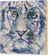 Blue Tiger Wood Print