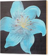 Blue Tiger Lily Wood Print