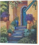 Blue Tile Steps Wood Print by Candy Mayer