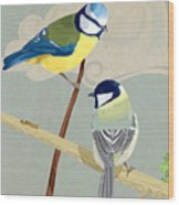 Blue Tit And Great Tit Wood Print