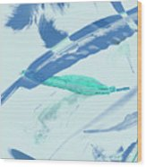 Blue Toned Artistic Feather Abstract Wood Print
