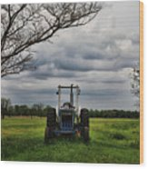 Blue Tractor Green Field Wood Print