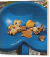 Blue Tractor Seat Wood Print
