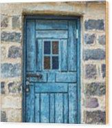 Blue Traditional Door Wood Print