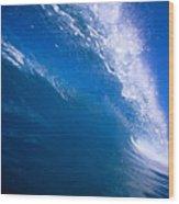 Blue Translucent Wave Wood Print