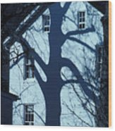Blue Tree House Wood Print