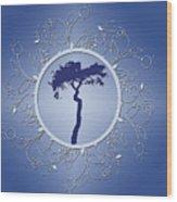 Blue Tree Of Life Wood Print