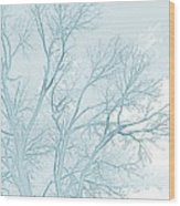 Blue Trees Wood Print