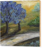 Blue Trees Wood Print by Laura Swink