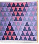 Blue Triangles Wood Print