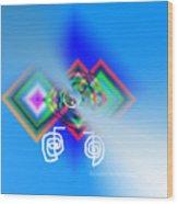 Blue Triple Interconnected Squares Wood Print
