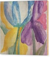 Blue Tulip And Iris Abstract Wood Print