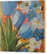 Blue Tulip Trio Wood Print