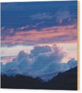Blue Twilight Clouds Art Prints Mountain Pink Sunset Baslee Troutman Wood Print