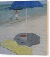 Blue Umbrella Wood Print