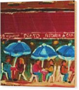 Blue Umbrellas Wood Print