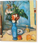 Blue Vase By Paul Cezanne Wood Print