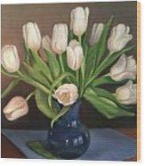 Blue Vase, White Tulips Wood Print