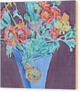 Blue Vase With Flowers Wood Print