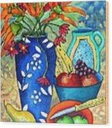 Blue Vase With Orange Flowers Wood Print