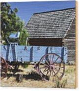 Blue Wagon Wood Print
