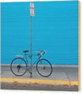 Blue Wall Bicycle Wood Print