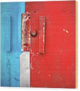 Blue Wall Red Door Wood Print