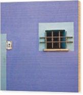 Blue Wall Window And Door Wood Print