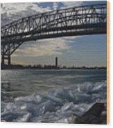Blue Water Bridge In Winter Wood Print
