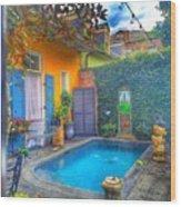 Blue Water Courtyard Wood Print