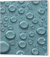 Blue Water Drops Wood Print by Blink Images