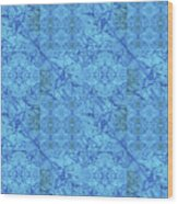 Blue Water Patchwork Wood Print
