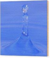 Blue Waterdrop Wood Print