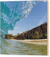 Blue Wave - Makena Beach Wood Print