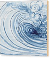 Blue Wave Modern Loose Curling Wave Wood Print