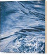 Blue Wave Water Wood Print