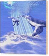 Blue Whales Wood Print