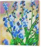 Blue Wildflowers Wood Print