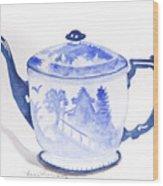 Blue Willow Teapot Wood Print