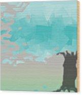 Blue Wind Wood Print