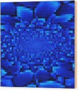Blue Windows Abstract Wood Print